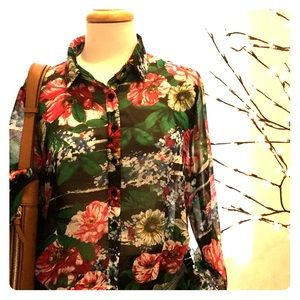 Tops - Sheer Floral blouse